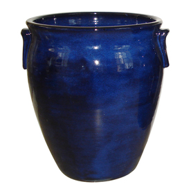 allen + roth Flowing Blue Glazed Ceramic Pot