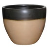 allen + roth 10.63-in H x 12.6-in W x 12.6-in D Mocha Glazed Ceramic Planter