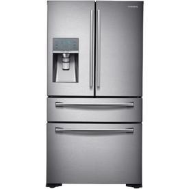 Samsung 22.6-cu ft 4-Door Counter-Depth French Door Refrigerator with Single Ice Maker (Stainless Steel) ENERGY STAR