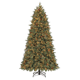 allen + roth 7.5-ft Pre-Lit Pine Artificial Christmas Tree with White Lights