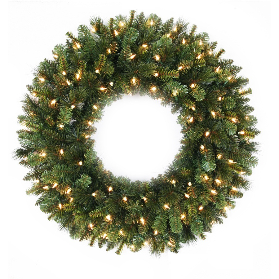 living 30 in pre lit spruce indoor outdoor artificial christmas wreath. Black Bedroom Furniture Sets. Home Design Ideas