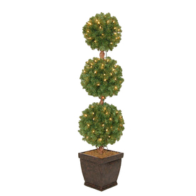 Holiday Living 4-ft Pre-Lit Triple Ball Topiary Artificial Christmas Tree with White Incandescent Lights