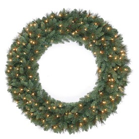 Holiday Living 48-in Pre-Lit Scottsdale Pine Indoor/Outdoor Artificial Christmas Wreath with White Incandescent Lights
