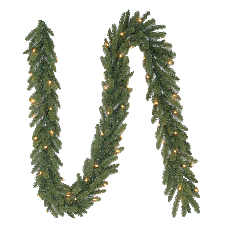 Shop holiday living 9 ft pre lit indoor outdoor harper fir artificial christmas garland with for Exterior christmas garland with lights