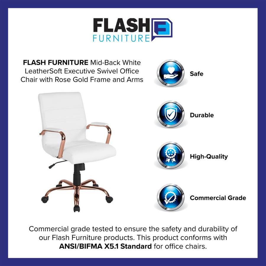 Flash Furniture White Leather/Rose Gold Frame Contemporary Adjustable  Height Swivel Executive Chair