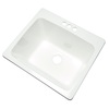 Project Source 25-in x 22-in White Self-Rimming Composite Laundry Utility Sink