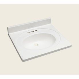 Style Selections Vanity White Cultured Marble Integral Single Sink Bathroom Vanity Top (Actual: 25-in x 22-in)