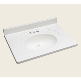 Style Selections Vanity White Cultured Marble Integral Single Sink Bathroom Vanity Top (Actual: 31-in x 22-in)