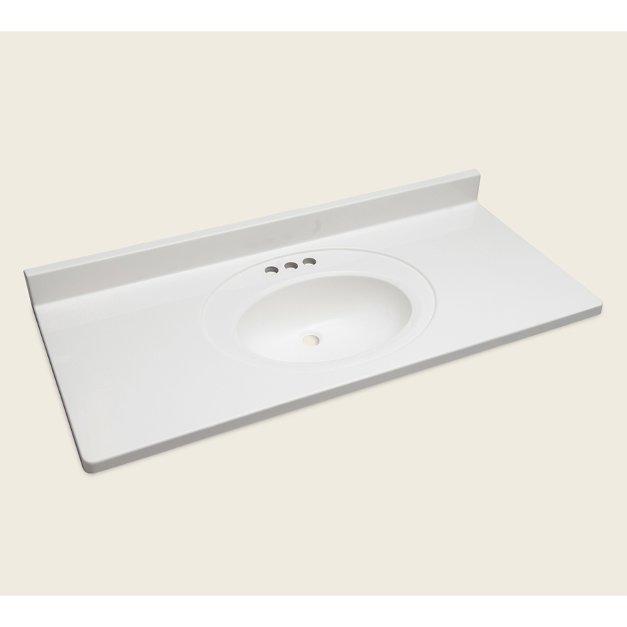 Shop style selections vanity white cultured marble integral single sink bathroom vanity top - Cultured marble bathroom vanity tops ...