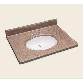 Style Selections Vanity Walnut Cultured Marble Integral Single Sink Bathroom Vanity Top (Actual: 31-in x 22-in)