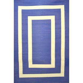 Garden Treasures Rectangular Blue Geometric Indoor/Outdoor Area Rug (Common: 5-ft x 8-ft; Actual: 5-ft 3-in x 7-ft 7-in)