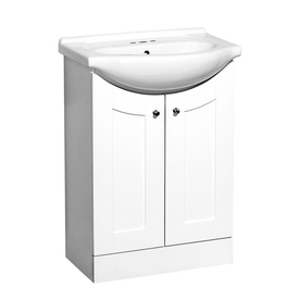 Style Selections Euro Vanity White Belly Bowl Single Sink Bathroom Vanity with Vitreous China Top (Common: 24-in x 17-in; Actual: 24-in x 17-in)