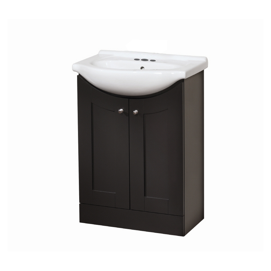 Shop style selections euro vanity espresso belly bowl single sink bathroom vanity with vitreous Lowes bathroom vanity and sink