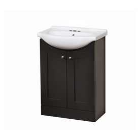 Style Selections Euro Style 24-in x 17-in Espresso Single Sink Bathroom Vanity with Vitreous China Top