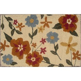 allen + roth Sunbury Rectangular White Floral Wool Accent Rug (Common: 2-ft x 4-ft; Actual: 30-in x 48-in)