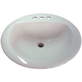 AquaSource White Drop-In Round Bathroom Sink with Overflow