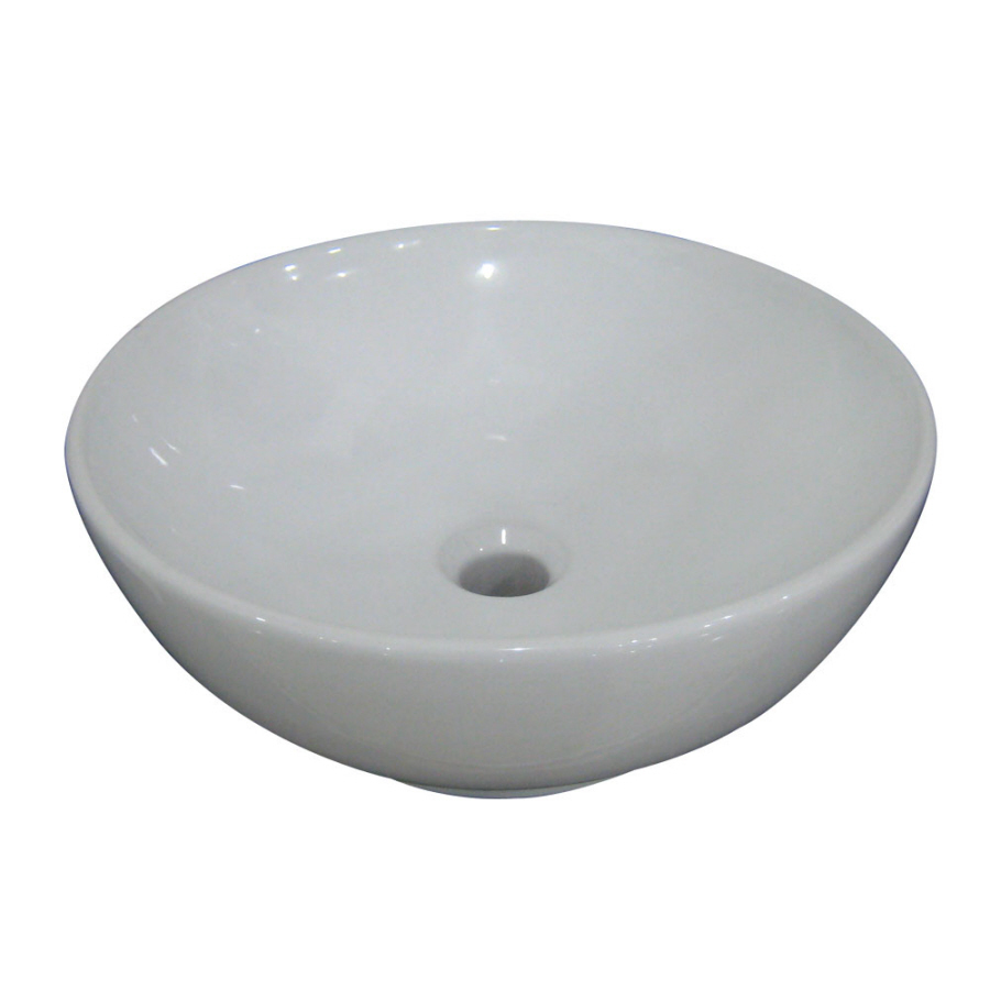 Shop AquaSource 6.15-in D White Vitreous China Round Vessel Sink at ...