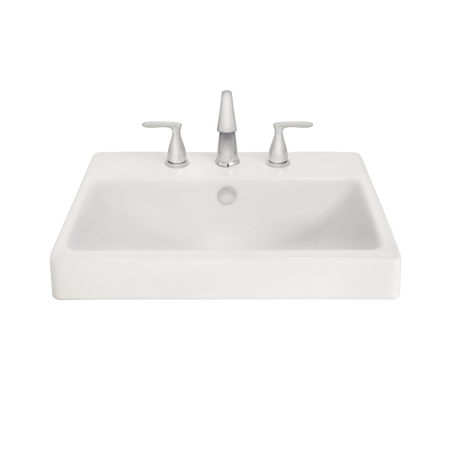 Shop aquasource white fire clay drop in rectangular for Bath toilet and sink