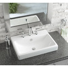 AquaSource White Fire Clay Drop-In Rectangular Bathroom Sink with Overflow