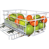 "16"" Powder Coated White Expandable Pull-Out Basket"