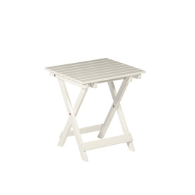 Garden Treasures 17.12-in x 15.15-in White Wood Rectangle Patio Side Table