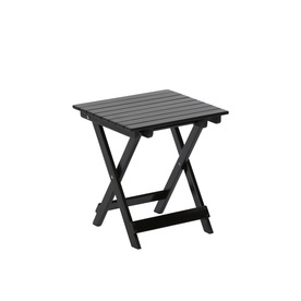 Garden Treasures 17.12-in x 15.15-in Black Wood Rectangle Patio Side Table