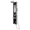 PULSE Leilani 4-Way Black Glass with Chrome Fixtures Shower Panel System