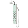 PULSE Lahaina 4-Way White Glass with Chrome Fixtures Shower Panel System