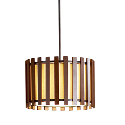 Zoomed: allen + roth 17-3/4&quot;W Bronze Pendant Light with Fabric Shade