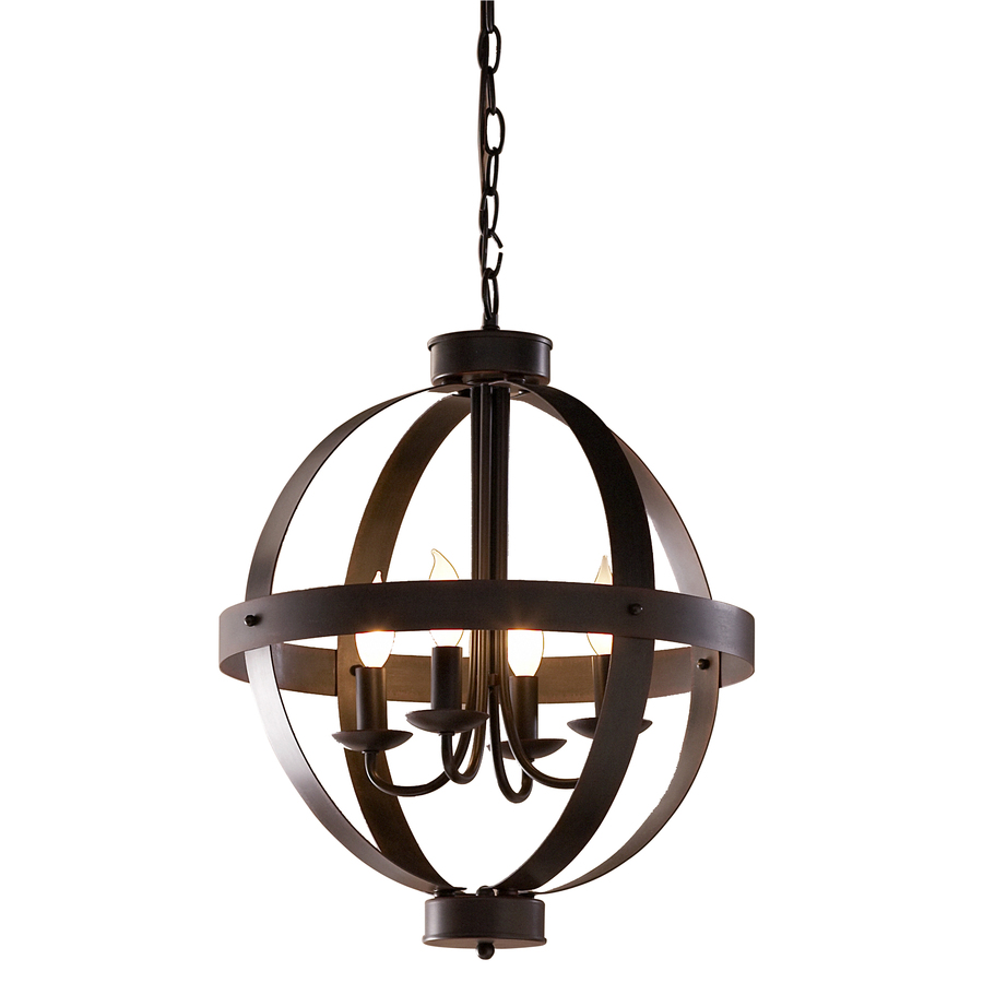 Shop allen + roth 18-in W Antique Rustic Bronze Standard Pendant Light at Lowes.com