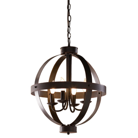 allen + roth 18-in W Antique Rustic Bronze Standard Pendant Light