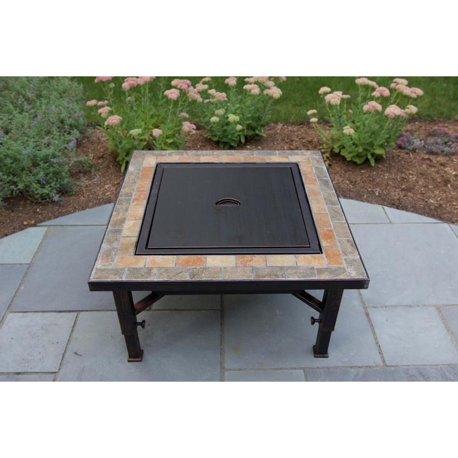 Global Outdoors 34-in Slate Top Round Fire Pit with Spark Screen Weather Resistant Cover and Safety Poker