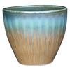Garden Treasures 15.1-in x 15.2-in Tan/Blue Ceramic Planter