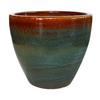 Garden Treasures 15.1-in x 15.2-in Blue Gray Ceramic Planter
