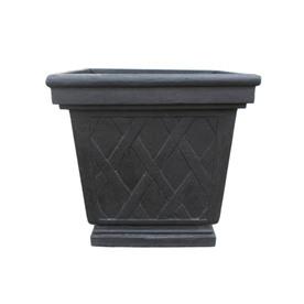 allen + roth 24-in x 23-in Black Fiberglass Planter