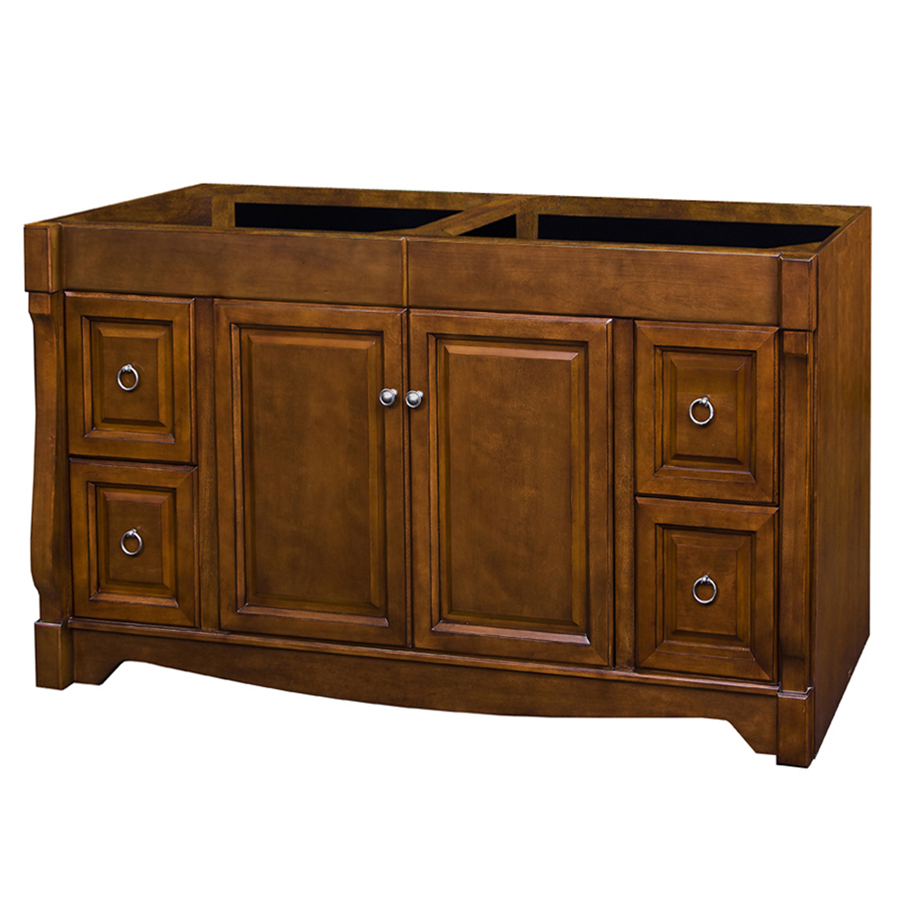 Shop allen roth caladium cherry traditional bathroom vanity common 60 in x 21 in actual 60 Stores to buy bathroom vanities