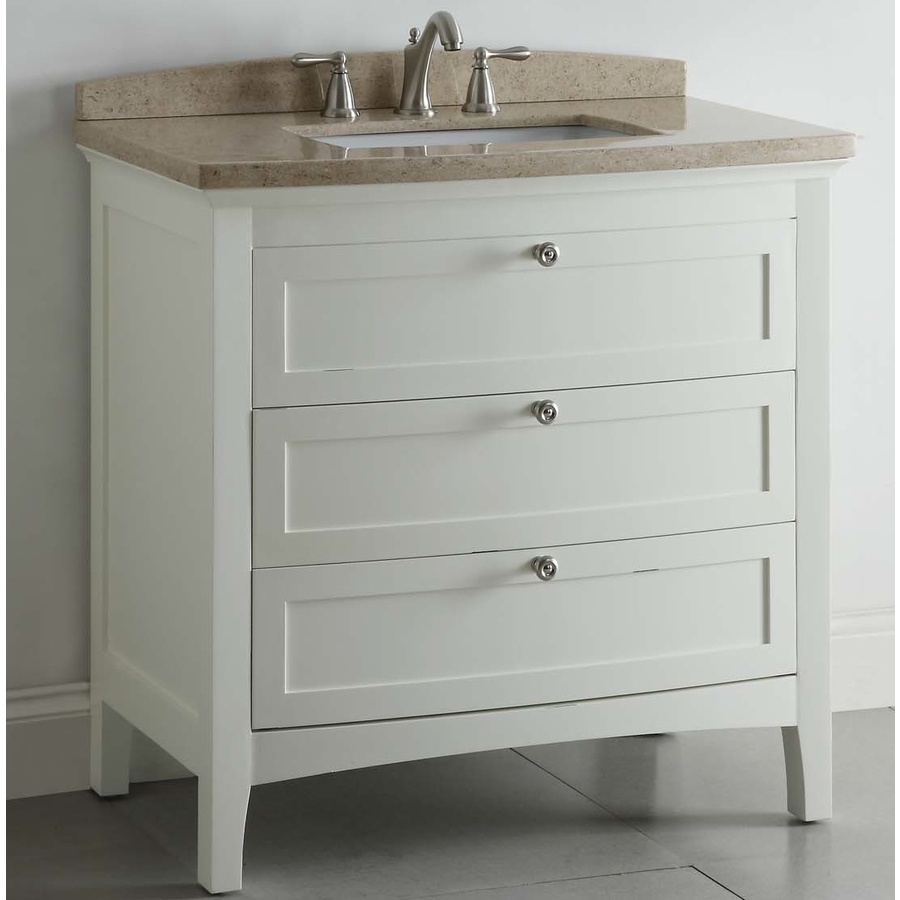 Shop allen roth windleton white with weathered edges - Lowes single sink bathroom vanity ...