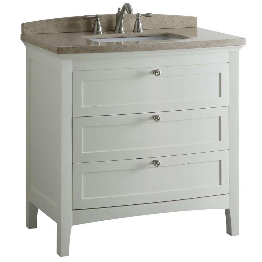 Shop allen roth norbury white undermount single sink poplar bathroom vanity with engineered - Allen roth bath cabinets ...
