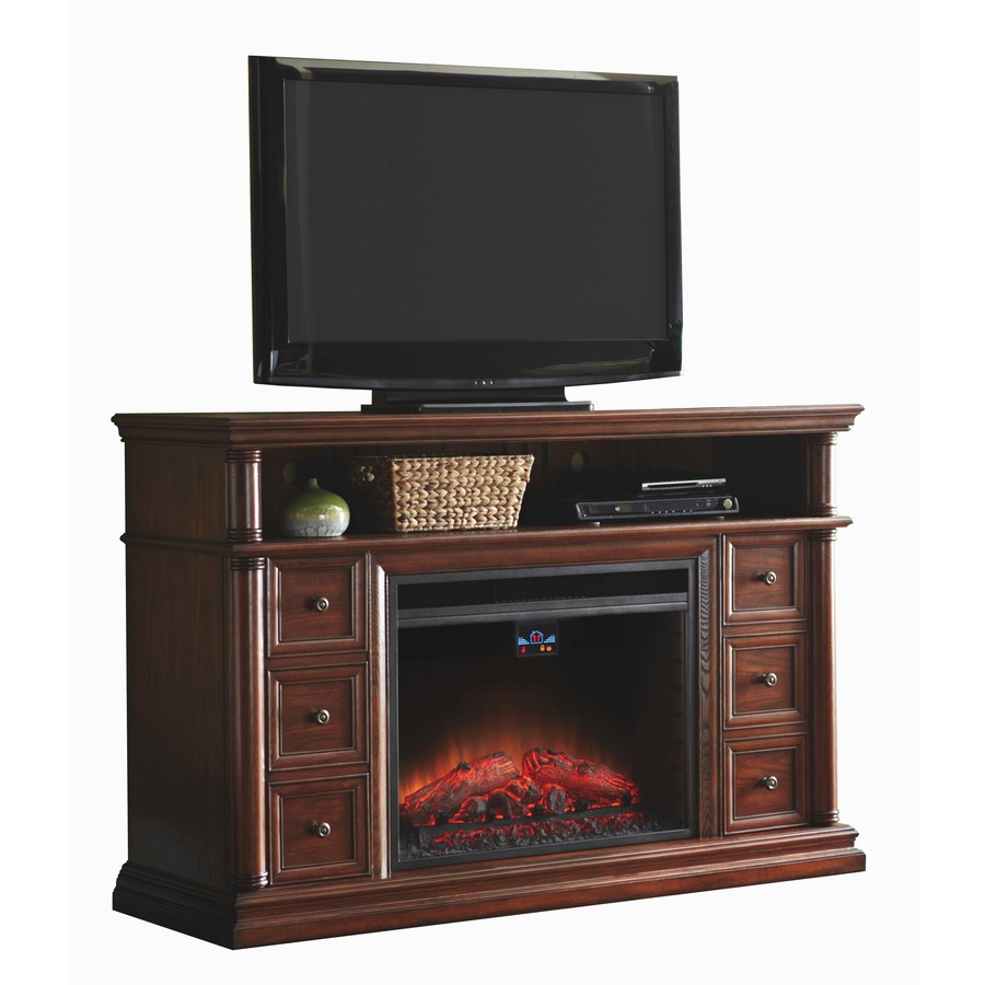 Shop Allen Roth 62 In W 5 120 Btu Sienna Wood And Metal Infrared Quartz Electric Fireplace