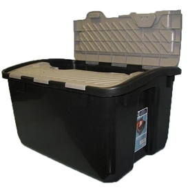 Real Organized 12-Gallon Black and Grey Plastic Lidded Crate