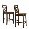 Style Selections Set Of 2 Brown 39-in Bar Stool (27-In to 35-In)