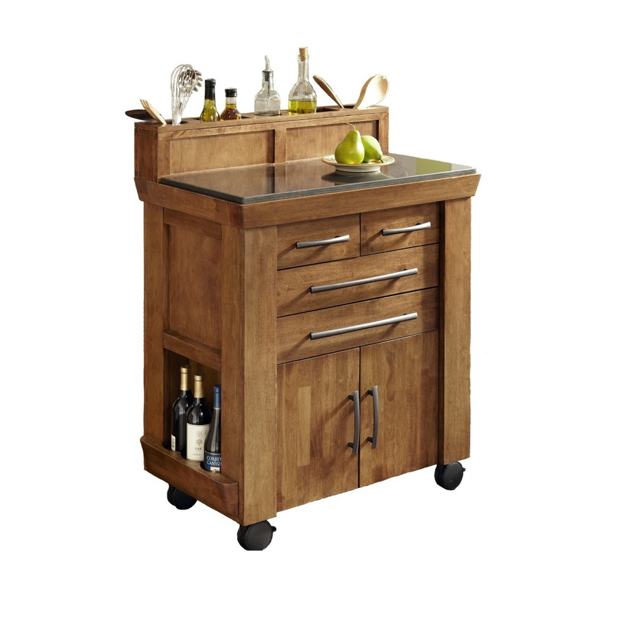 Shop Home Styles Black Scandinavian Kitchen Carts At Lowes Com: Shop Home Styles Vintage Vintage Caramel/Black Rectangular