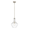 Kichler Lighting Everly 10.5-in W Brushed Nickel Pendant Light with Seeded Shade