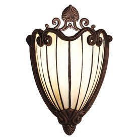 Shop Kichler Lighting Clarice 8-in W 1-Light Tannery Bronze/Gold Tiffany-Style Pocket Wall ...