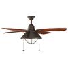 Kichler Lighting Seaside 54-in Olde Bronze Downrod Mount Indoor/Outdoor Ceiling Fan with Light Kit (4-Blade) ENERGY STAR