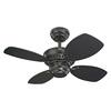 Monte Carlo Fan Company Colony II 28-in Matte Black Downrod or Close Mount Indoor Ceiling Fan (4-Blade)