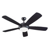 Monte Carlo Fan Company Discus 52-in Matte Black Downrod or Close Mount Indoor Ceiling Fan with Light Kit (5-Blade)