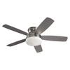 Monte Carlo Fan Company 52-in Brushed Steel Flush Mount Ceiling Fan with Light Kit (5-Blade)