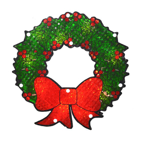 Northlight Lighted Hanging Window Cling Holographic Wreath Indoor Christmas Decoration ATG10980316
