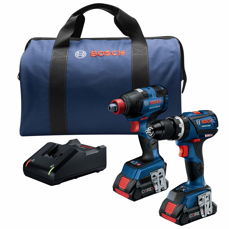 Bosch 2-Tool Core18v Brushless Power Tool Combo Kit with Soft Case (Charger Included and 2-Batteries Included) | GXL18V-251B25